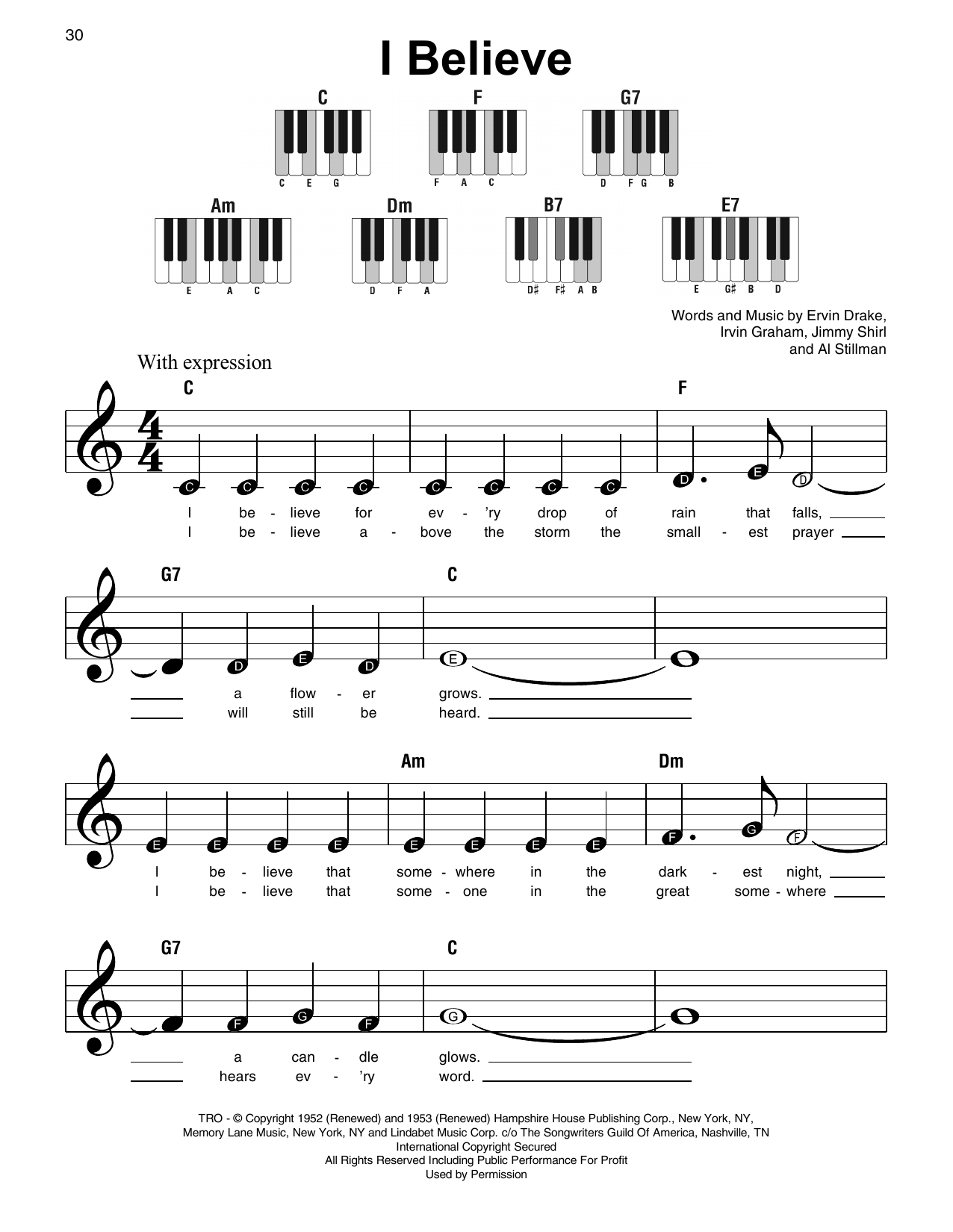 Irvin Graham I Believe sheet music notes and chords