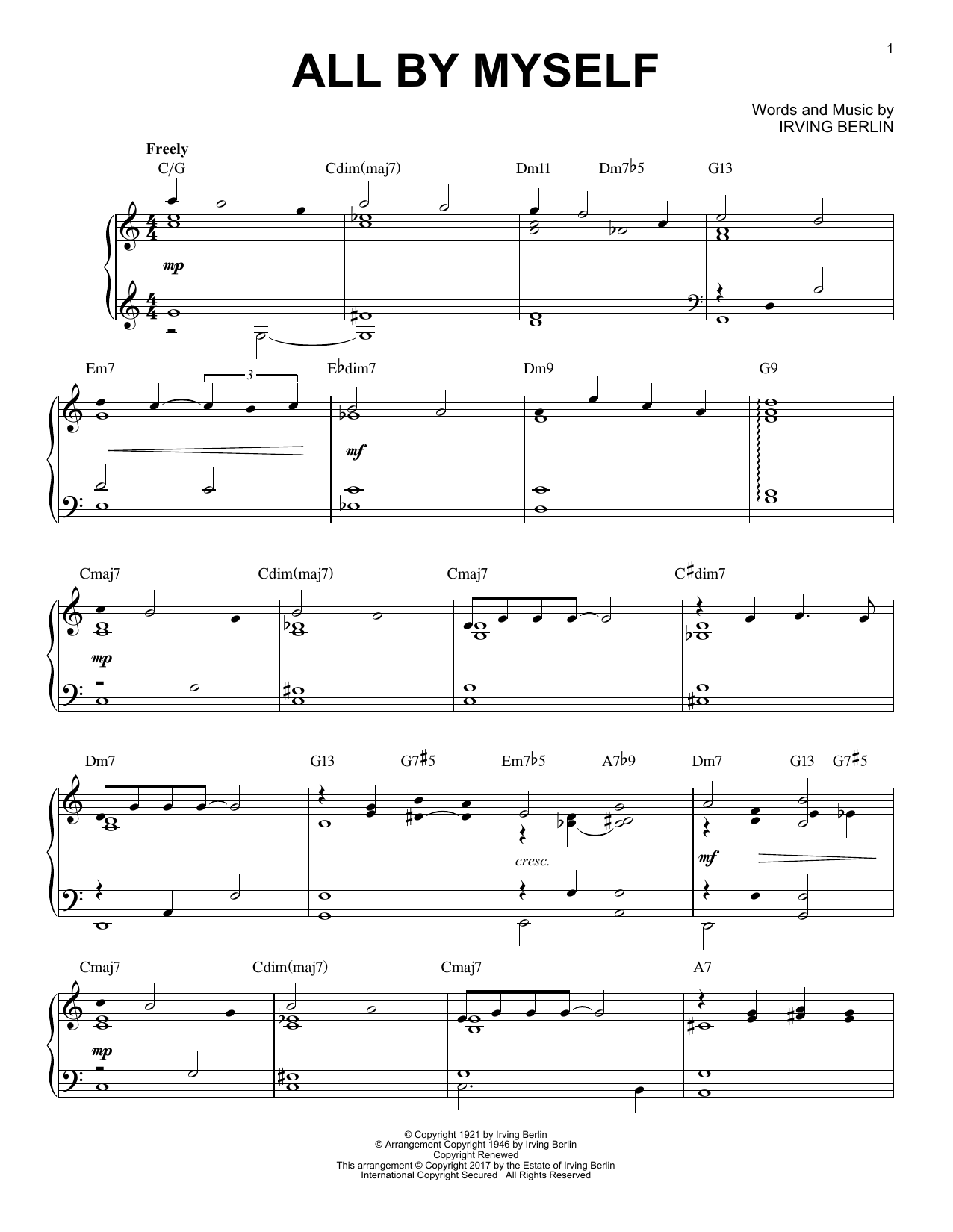 Irving Berlin All By Myself [Jazz version] sheet music notes and chords. Download Printable PDF.