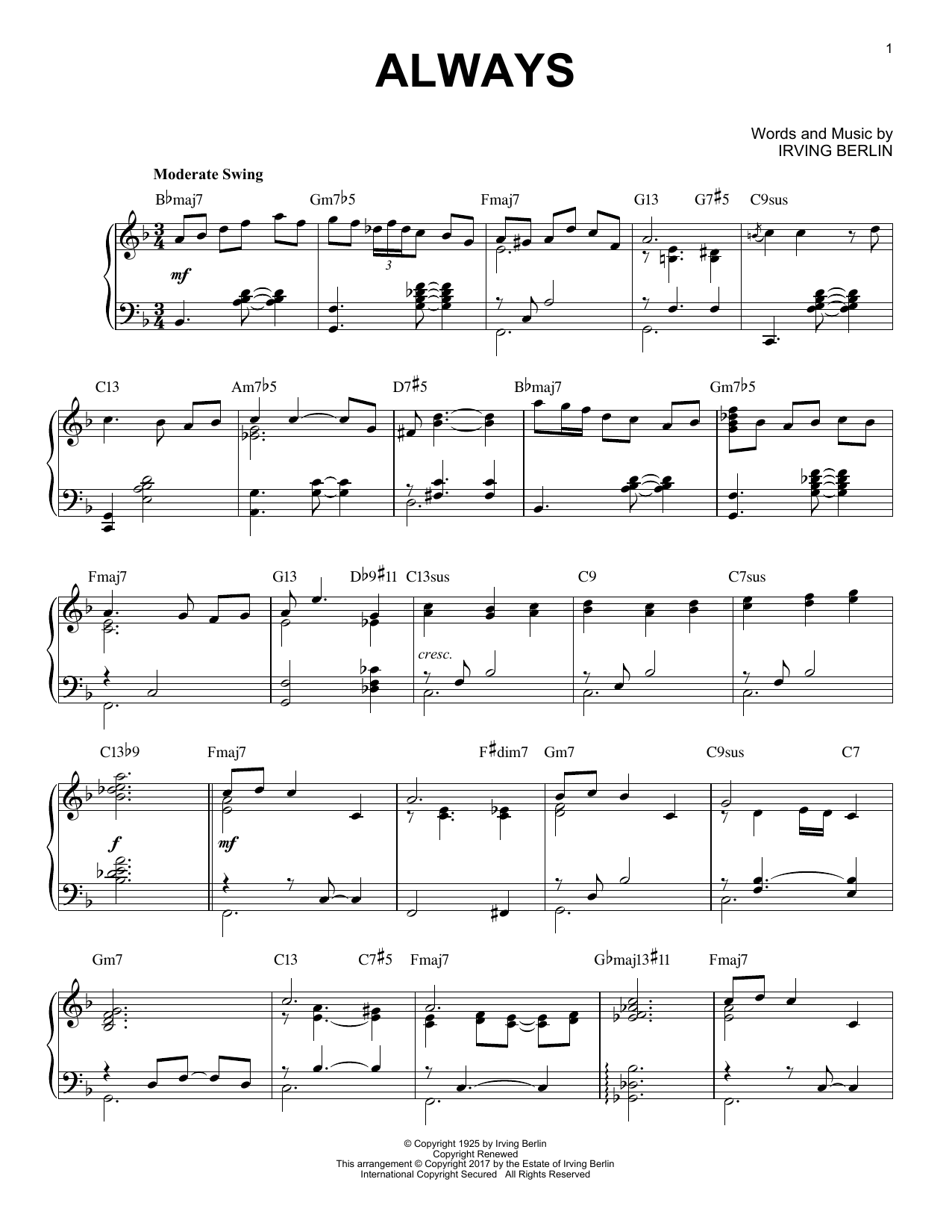 Irving Berlin Always [Jazz version] sheet music notes and chords. Download Printable PDF.