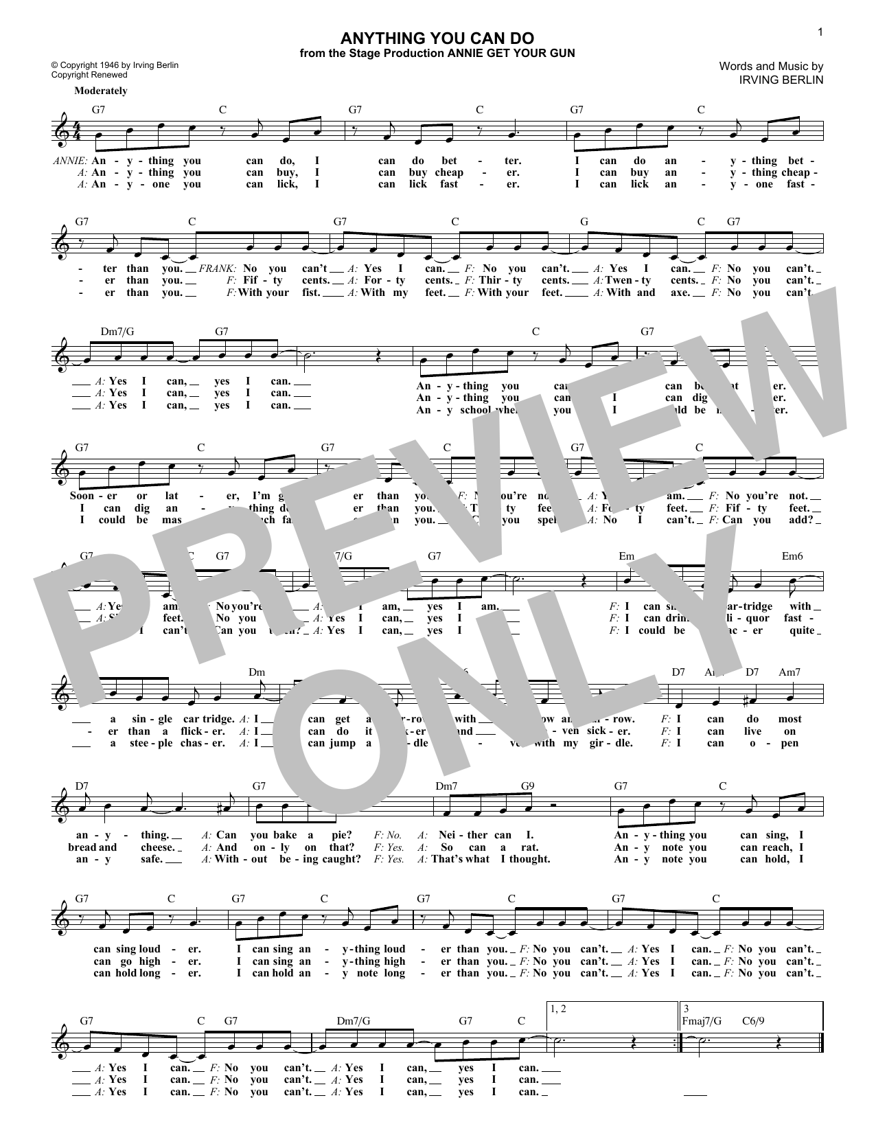 Irving Berlin Anything You Can Do sheet music notes and chords. Download Printable PDF.