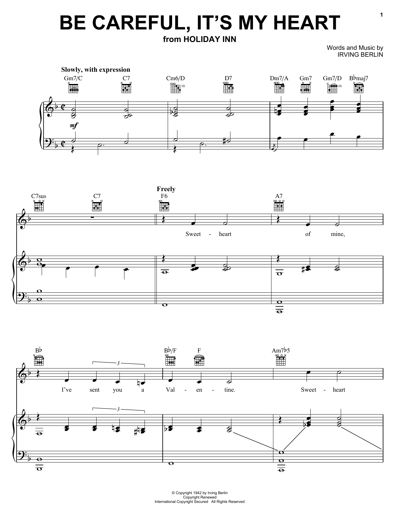 Irving Berlin Be Careful, It's My Heart sheet music notes and chords