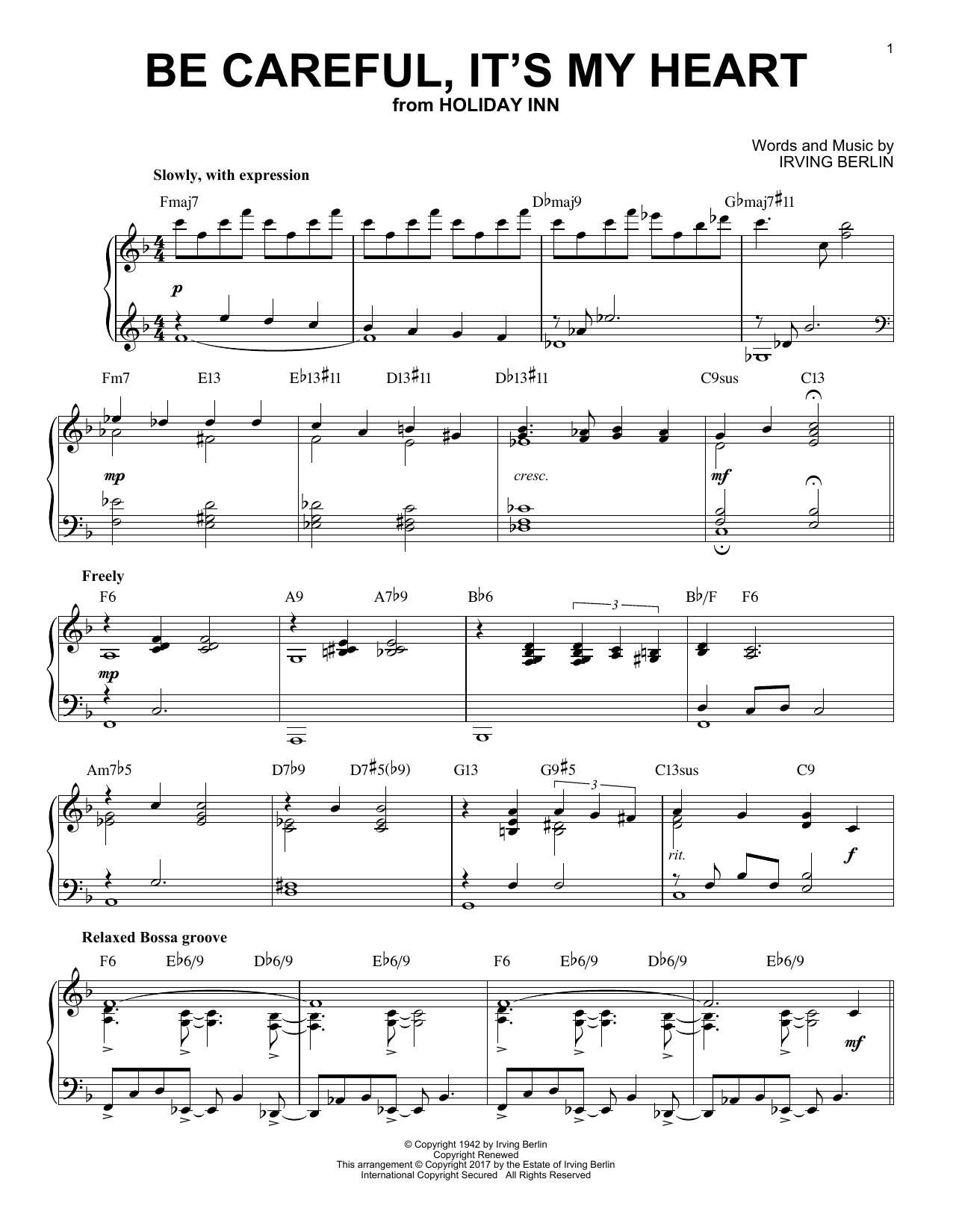 Irving Berlin Be Careful, It's My Heart [Jazz version] sheet music notes and chords. Download Printable PDF.