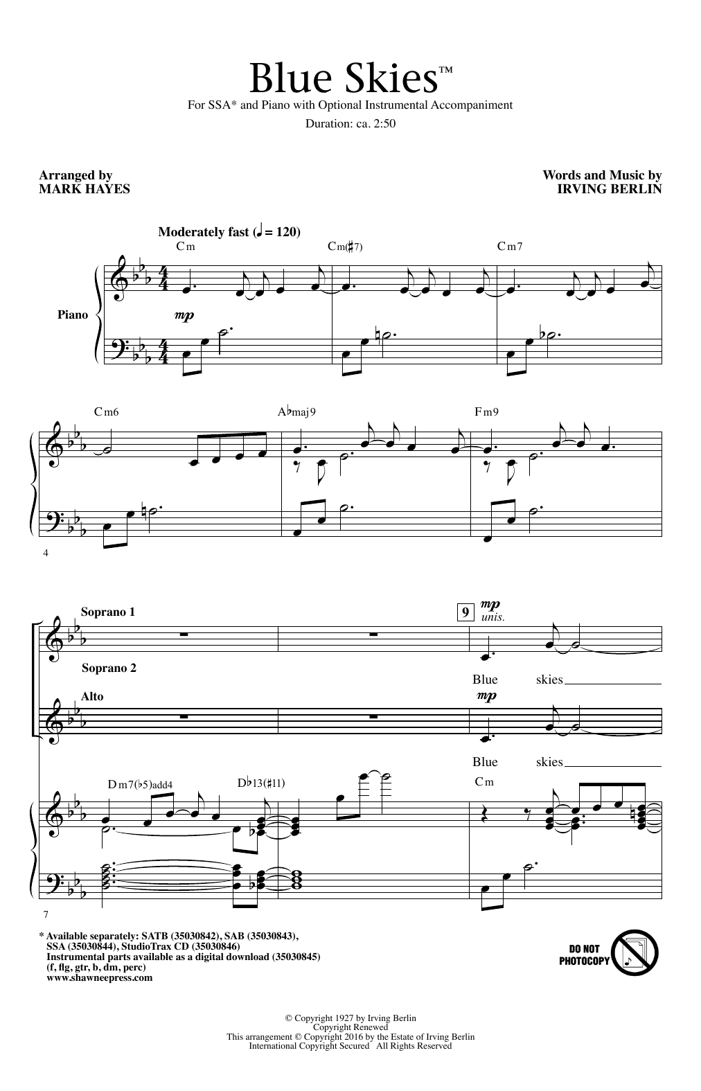 Irving Berlin Blue Skies (arr. Mark Hayes) sheet music notes and chords. Download Printable PDF.