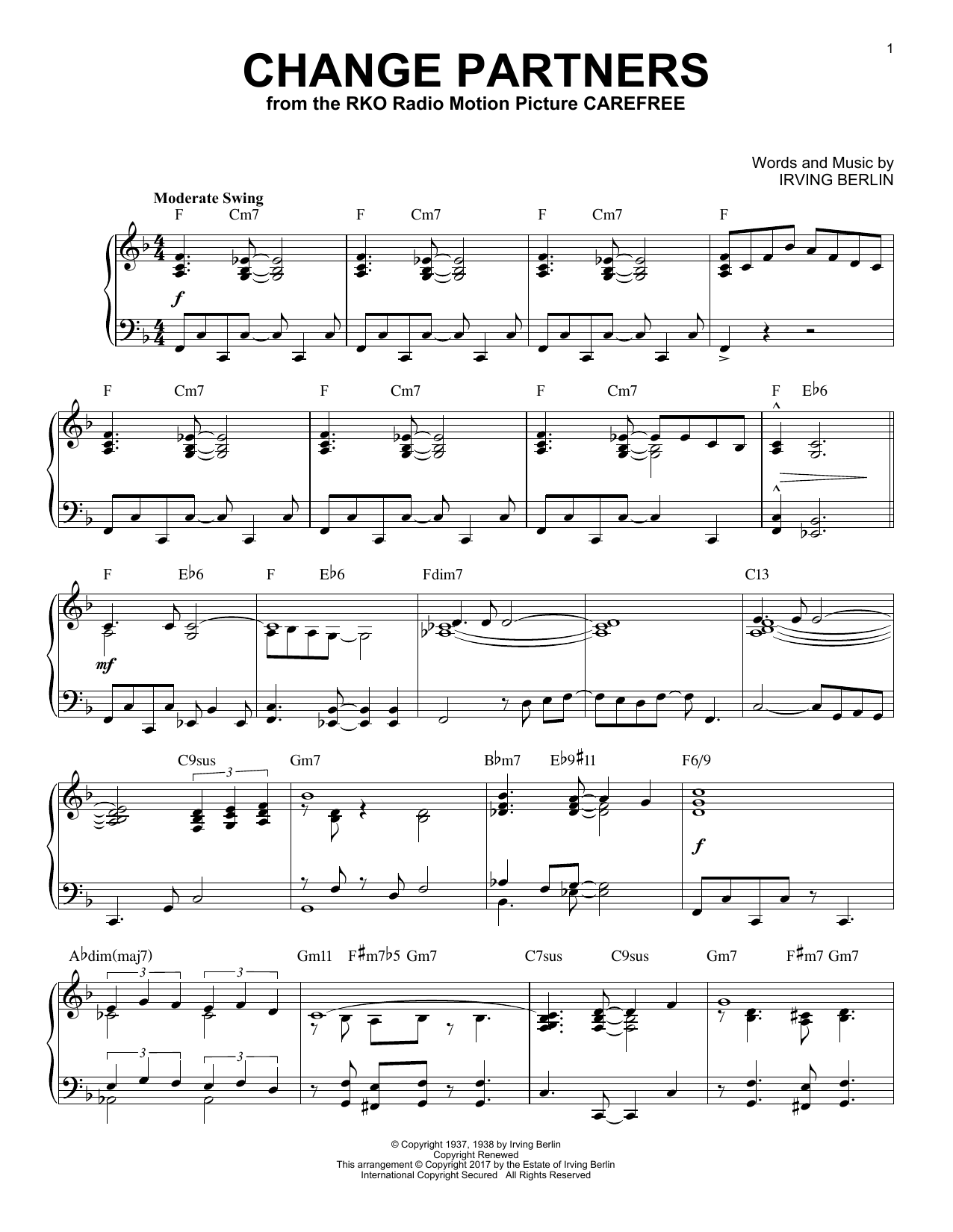 Irving Berlin Change Partners [Jazz version] sheet music notes and chords. Download Printable PDF.