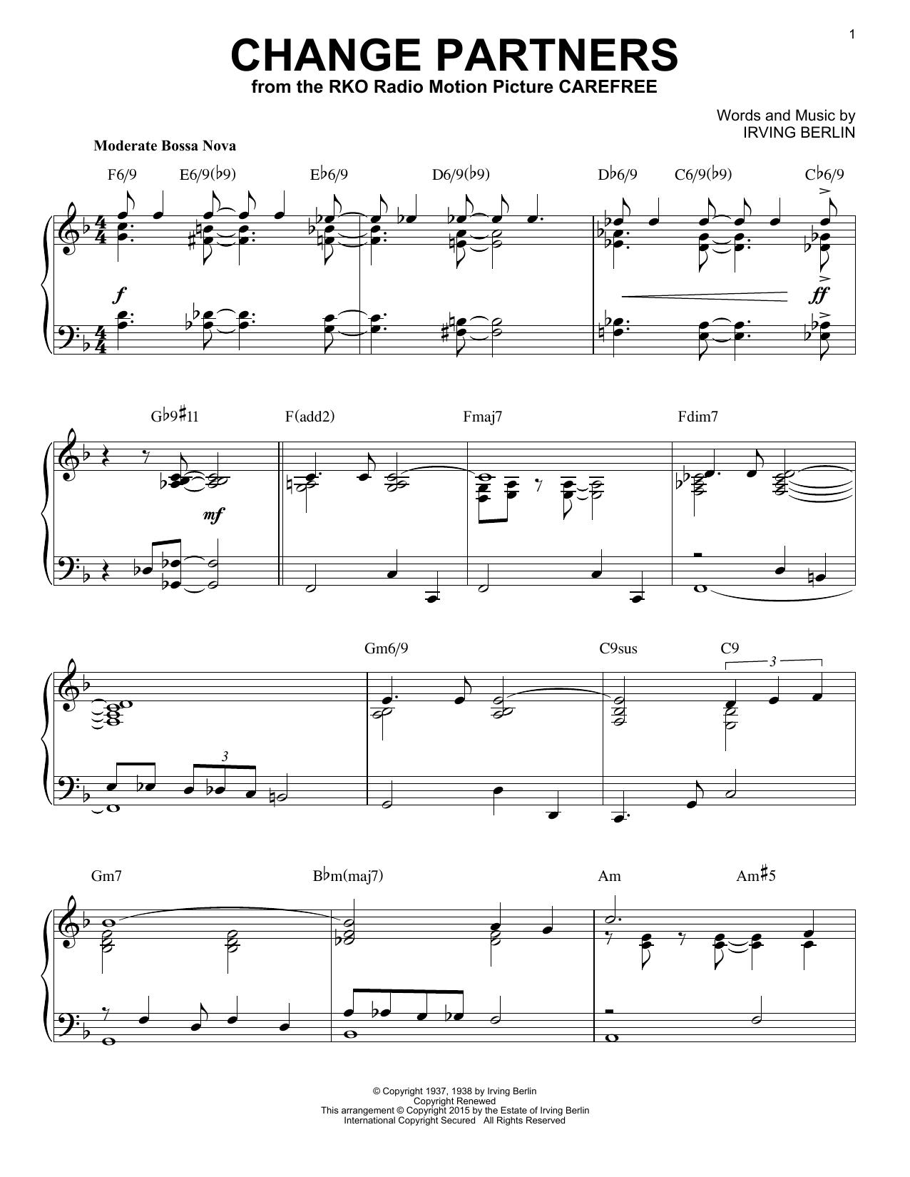 Irving Berlin Change Partners [Jazz version] (arr. Brent Edstrom) sheet music notes and chords. Download Printable PDF.