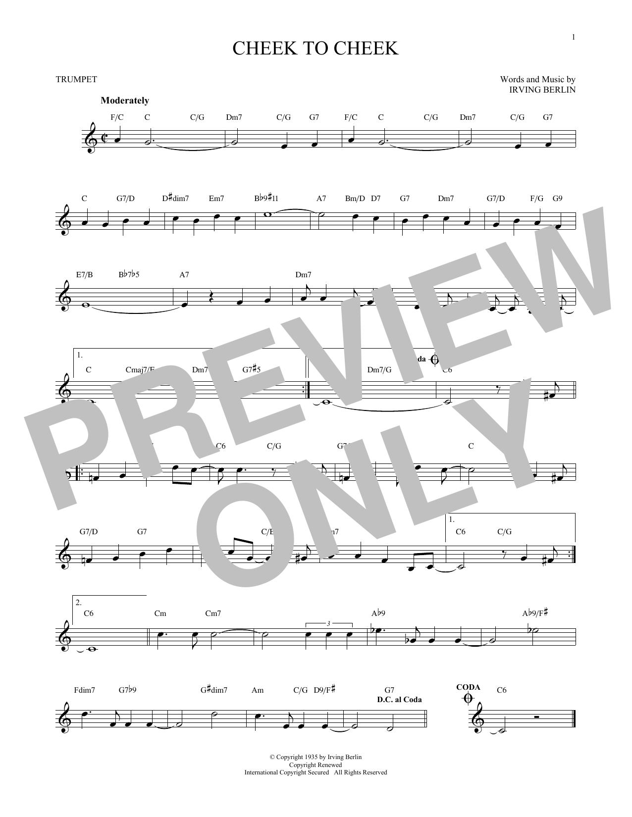 Irving Berlin 'Cheek To Cheek' Sheet Music Notes, Chords | Download  Printable Trumpet Solo - SKU: 171557