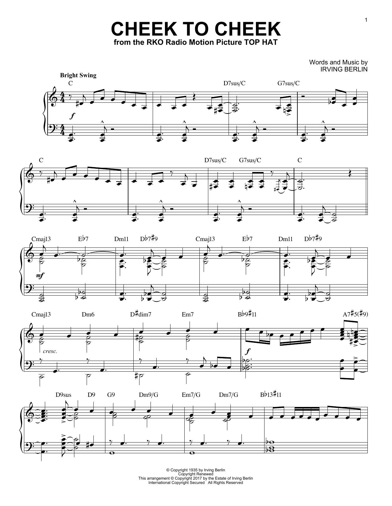 Irving Berlin Cheek To Cheek [Jazz version] sheet music notes and chords. Download Printable PDF.