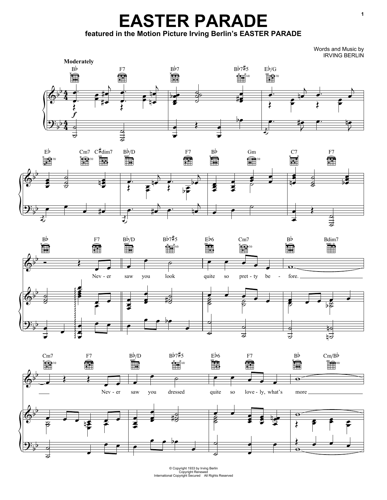 Irving Berlin Easter Parade sheet music notes and chords. Download Printable PDF.