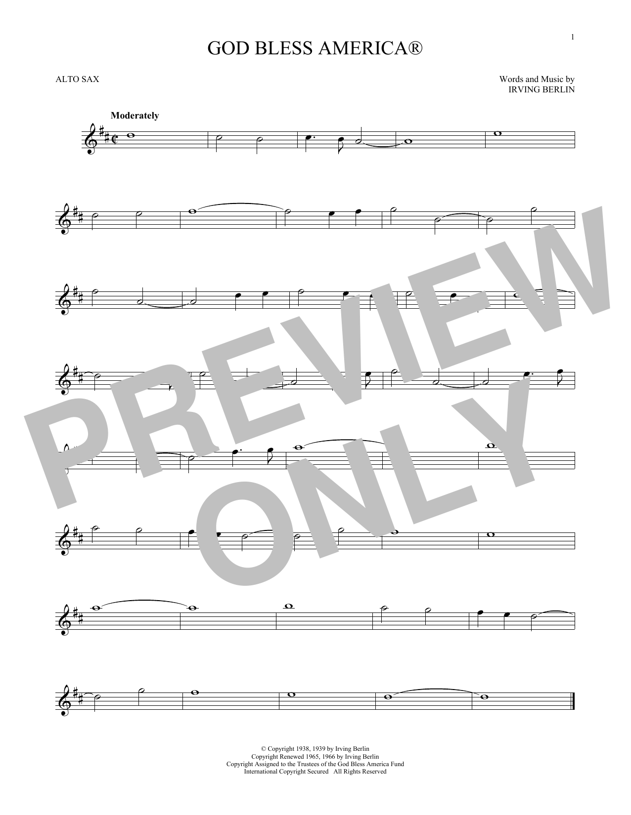 Irving Berlin 'God Bless America' Sheet Music Notes, Chords | Download  Printable Alto Sax Solo - SKU: 196442