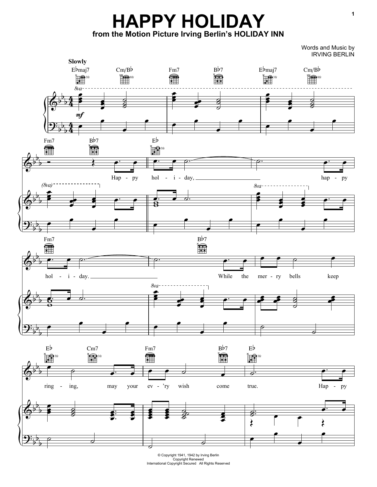 Irving Berlin Happy Holiday sheet music notes and chords. Download Printable PDF.