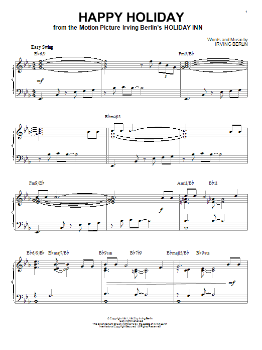 Irving Berlin Happy Holiday [Jazz version] (arr. Brent Edstrom) sheet music notes and chords. Download Printable PDF.