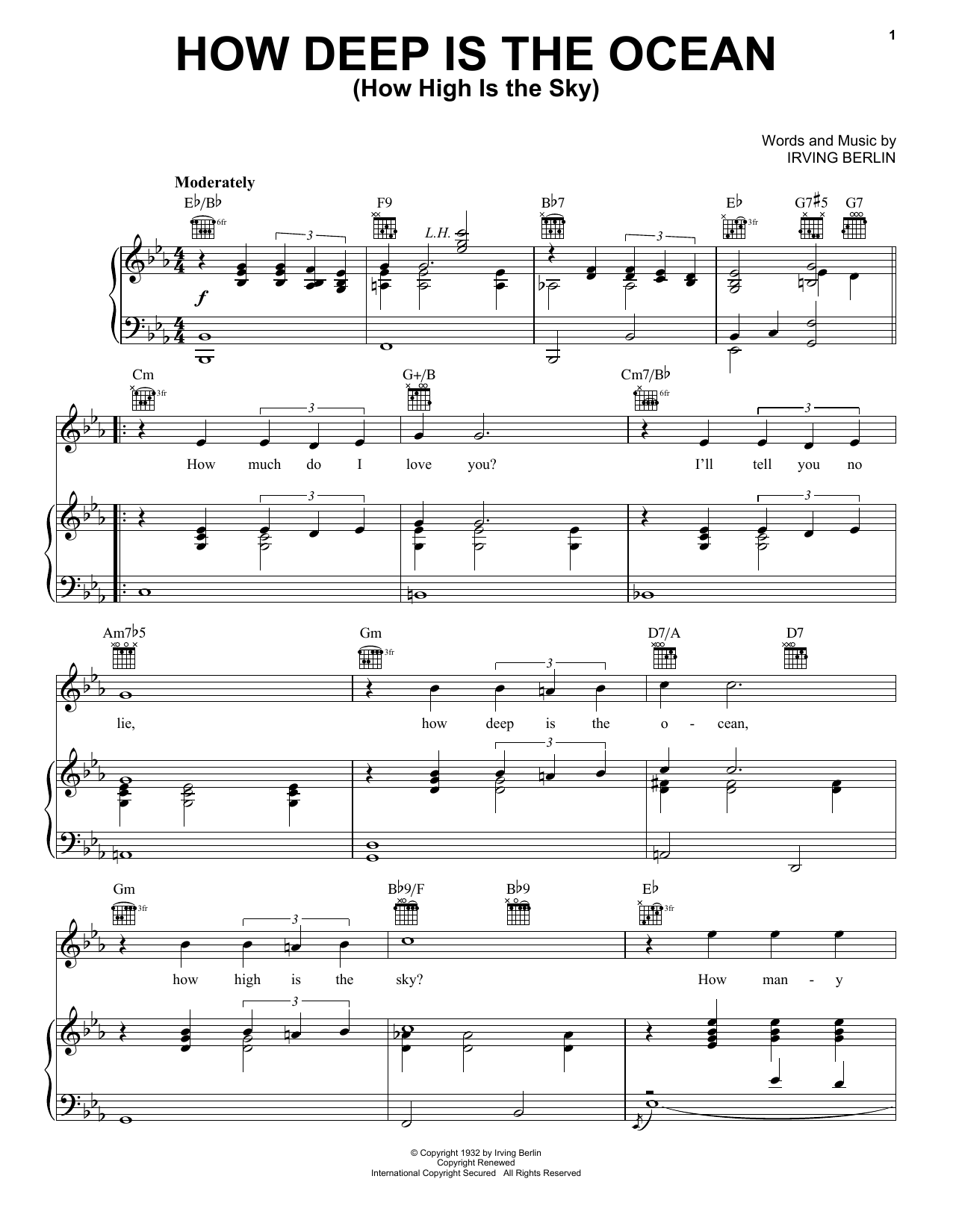 Irving Berlin How Deep Is The Ocean (How High Is The Sky) sheet music notes and chords. Download Printable PDF.