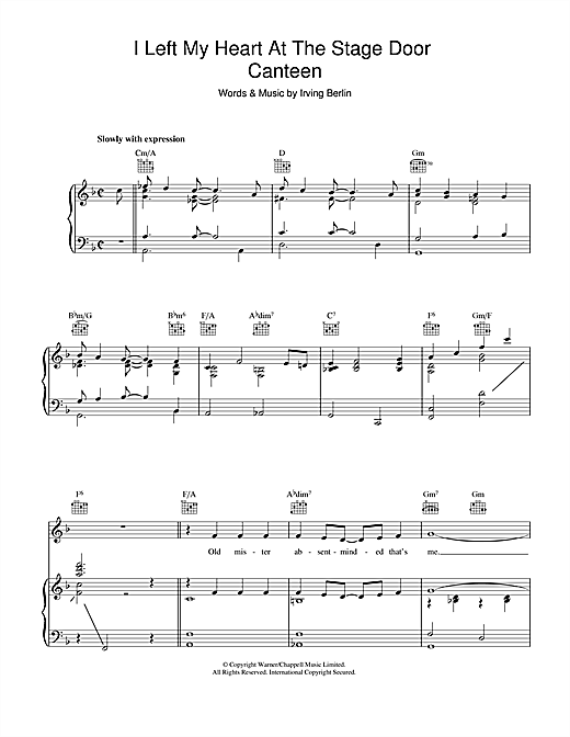 Irving Berlin I Left My Heart At The Stage Door Canteen sheet music notes and chords