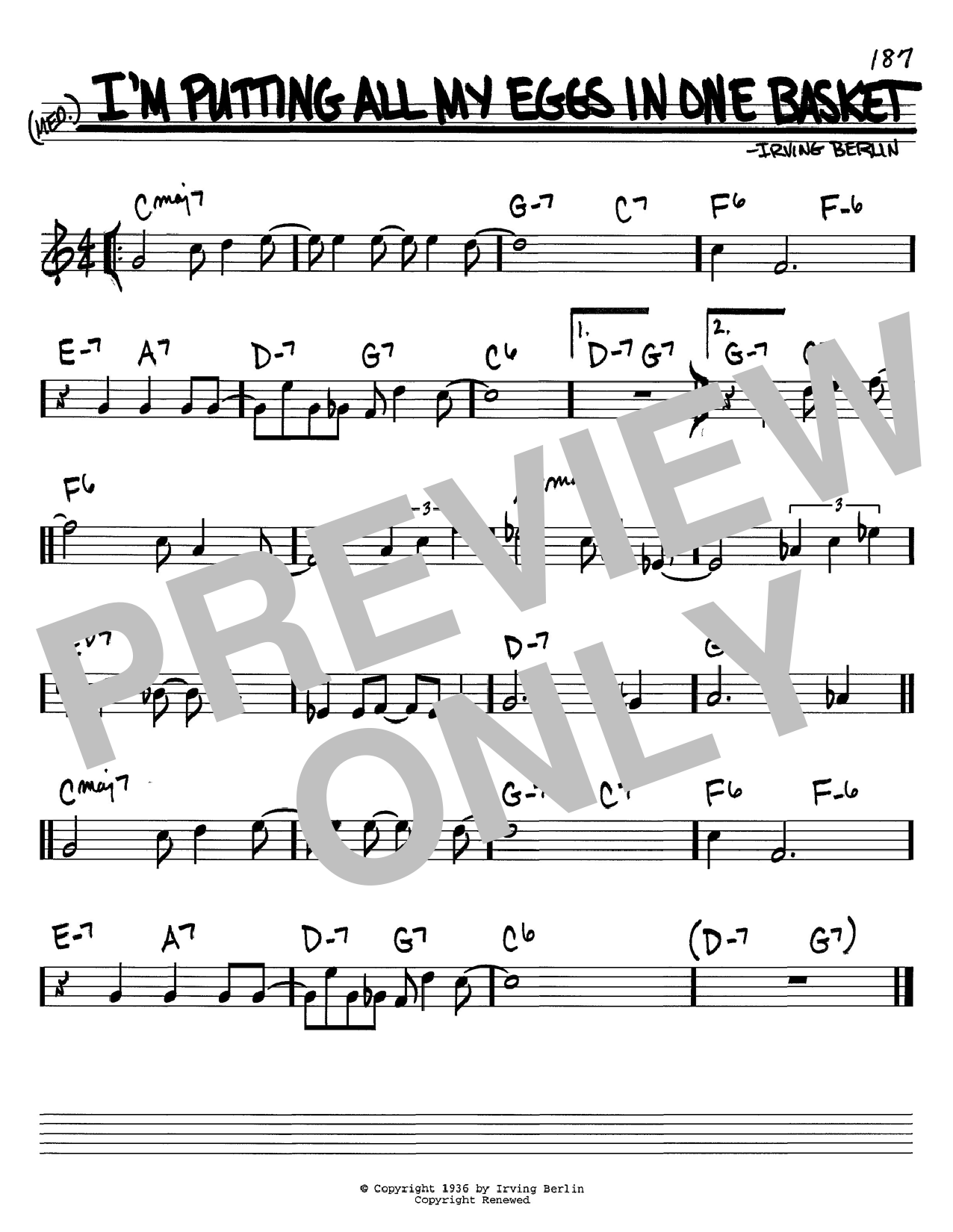 Irving Berlin I'm Putting All My Eggs In One Basket sheet music notes and chords. Download Printable PDF.