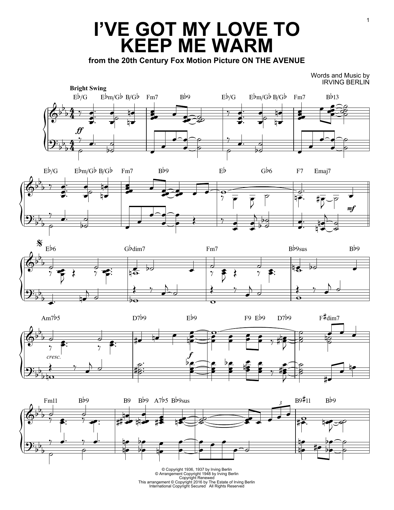 Irving Berlin I've Got My Love To Keep Me Warm [Jazz version] (arr. Brent Edstrom) sheet music notes and chords. Download Printable PDF.