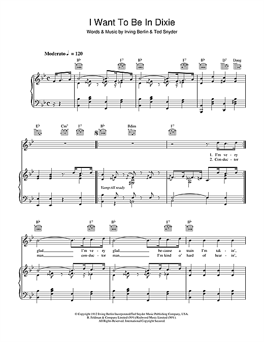 Irving Berlin I Want To Be In Dixie sheet music notes and chords. Download Printable PDF.