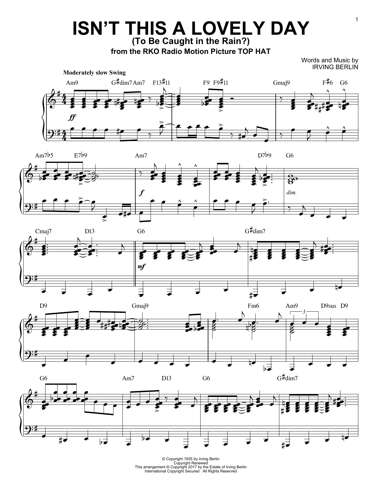 Irving Berlin Isn't This A Lovely Day (To Be Caught In The Rain?) [Jazz version] sheet music notes and chords. Download Printable PDF.