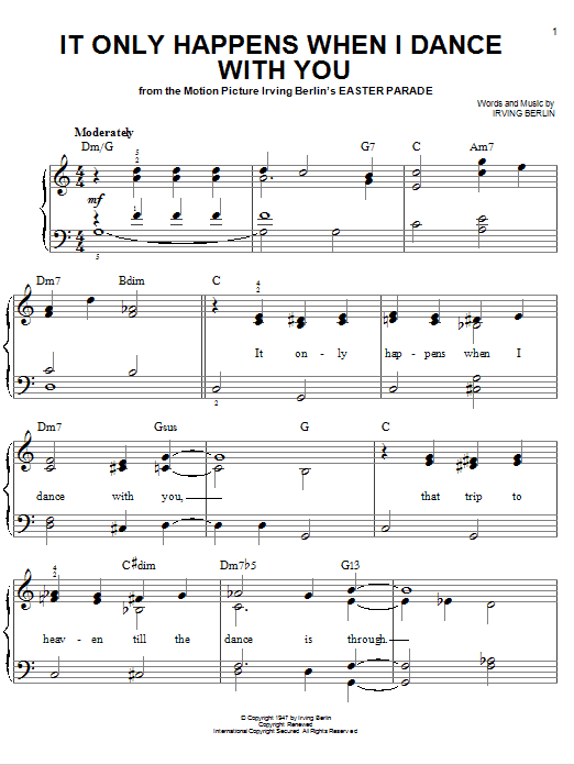 Irving Berlin It Only Happens When I Dance With You sheet music notes and chords. Download Printable PDF.