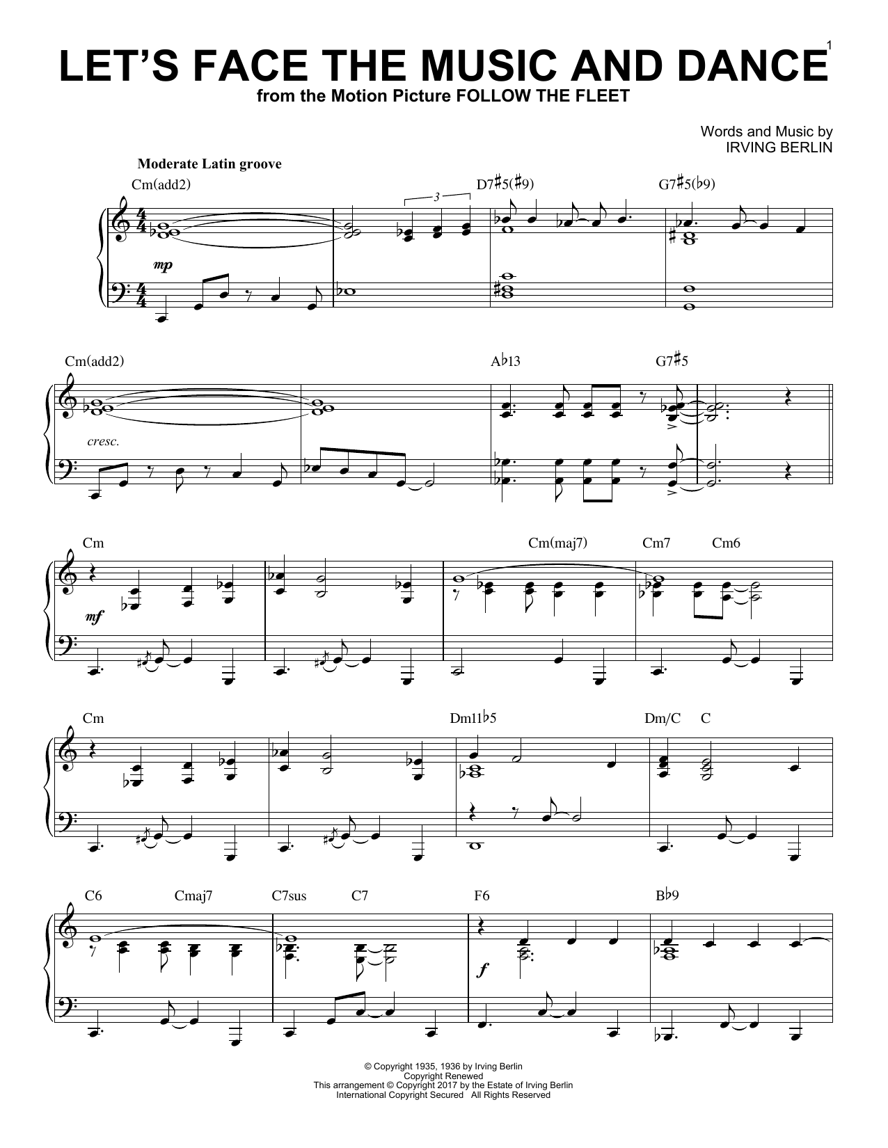 Irving Berlin Let's Face The Music And Dance [Jazz version] sheet music notes and chords. Download Printable PDF.