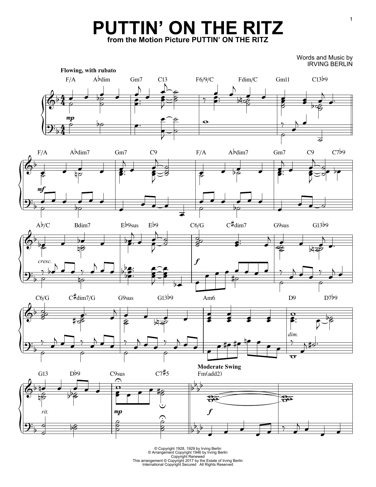Irving Berlin Puttin' On The Ritz [Jazz version] sheet music notes and chords. Download Printable PDF.