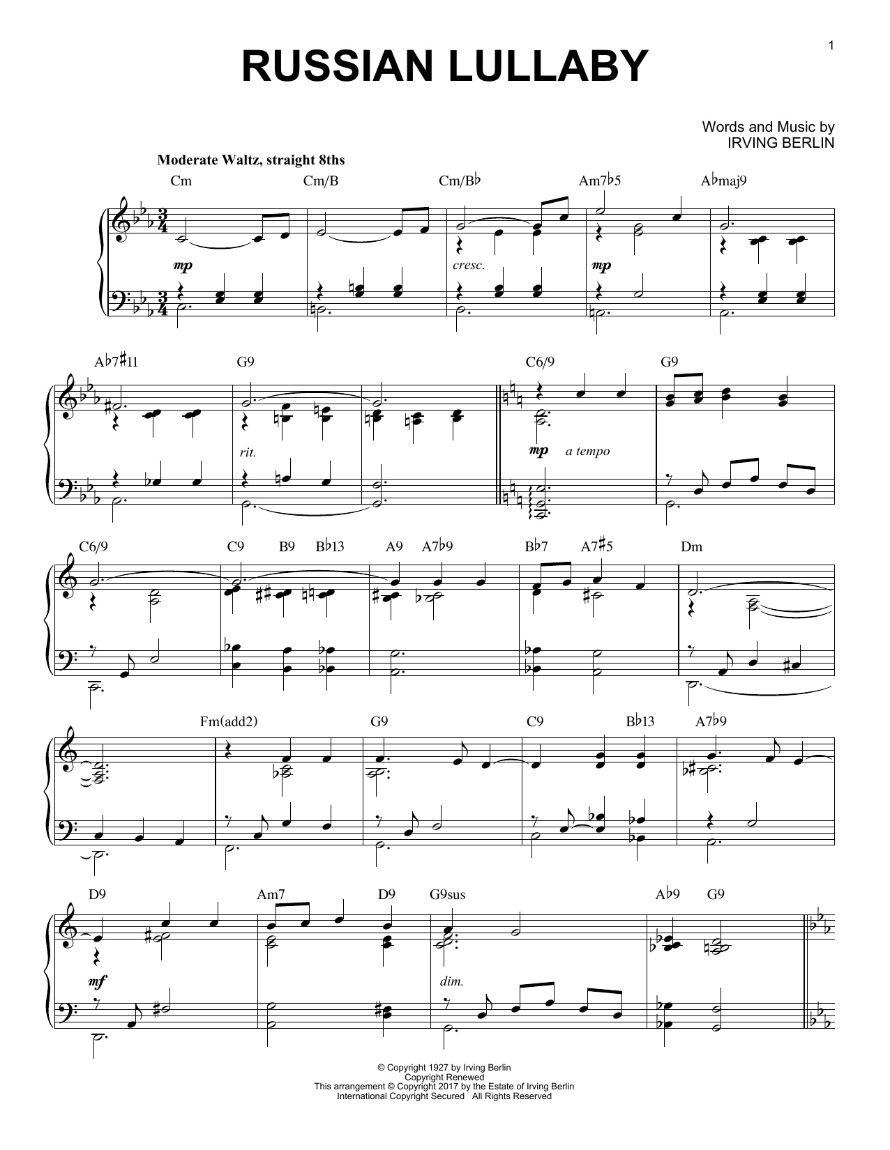 Irving Berlin Russian Lullaby [Jazz version] sheet music notes and chords. Download Printable PDF.