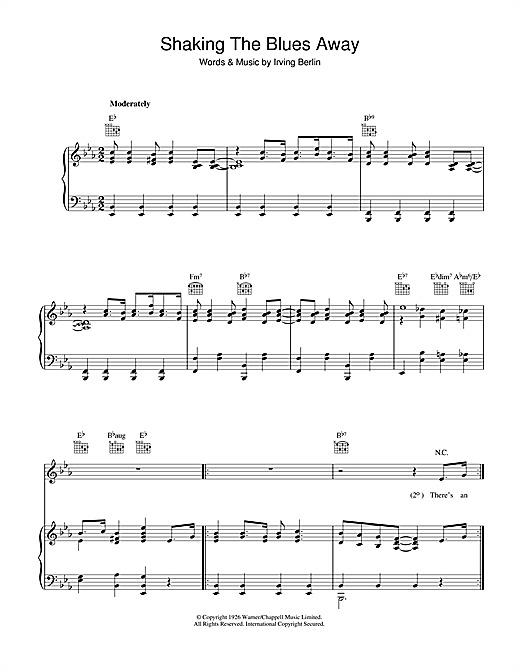 Irving Berlin Shaking The Blues Away sheet music notes and chords. Download Printable PDF.