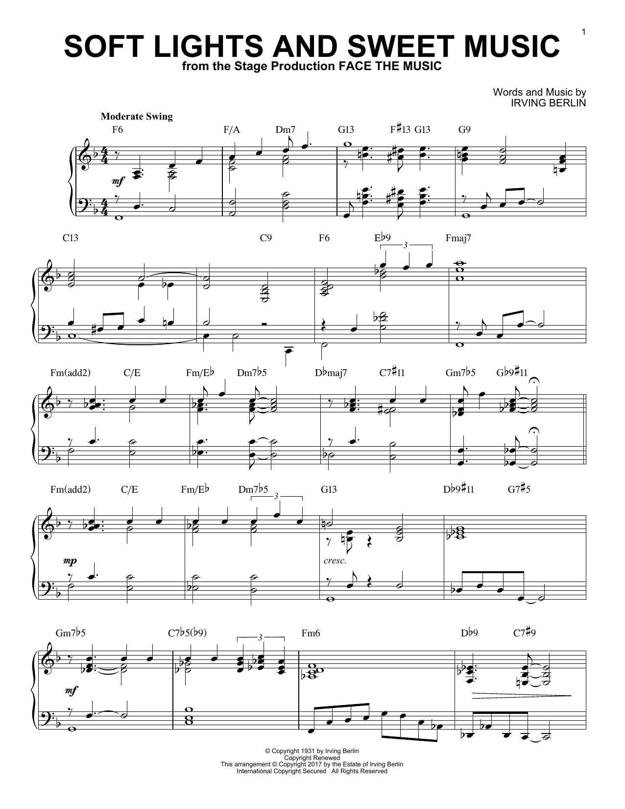 Irving Berlin Soft Lights And Sweet Music [Jazz version] sheet music notes and chords. Download Printable PDF.