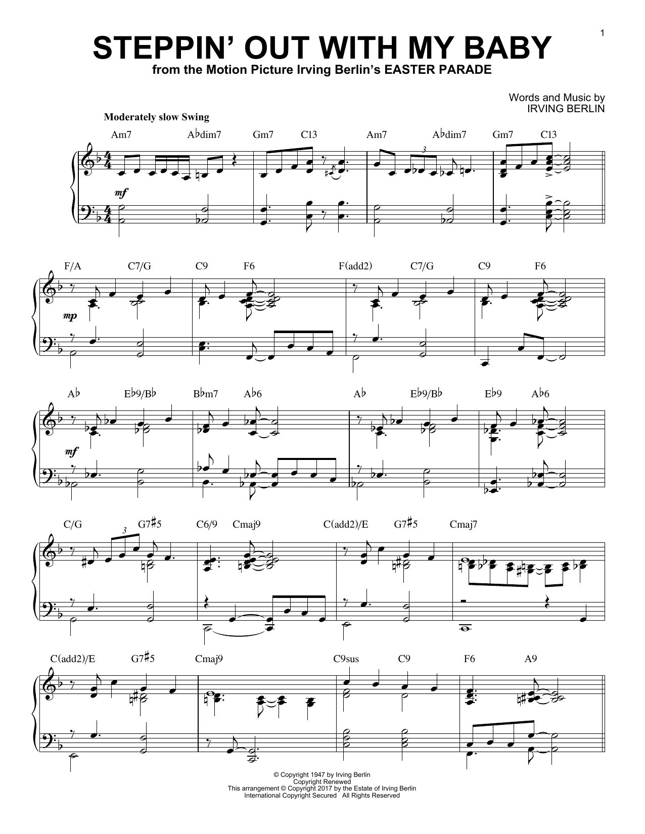Irving Berlin Steppin' Out With My Baby [Jazz version] sheet music notes and chords. Download Printable PDF.