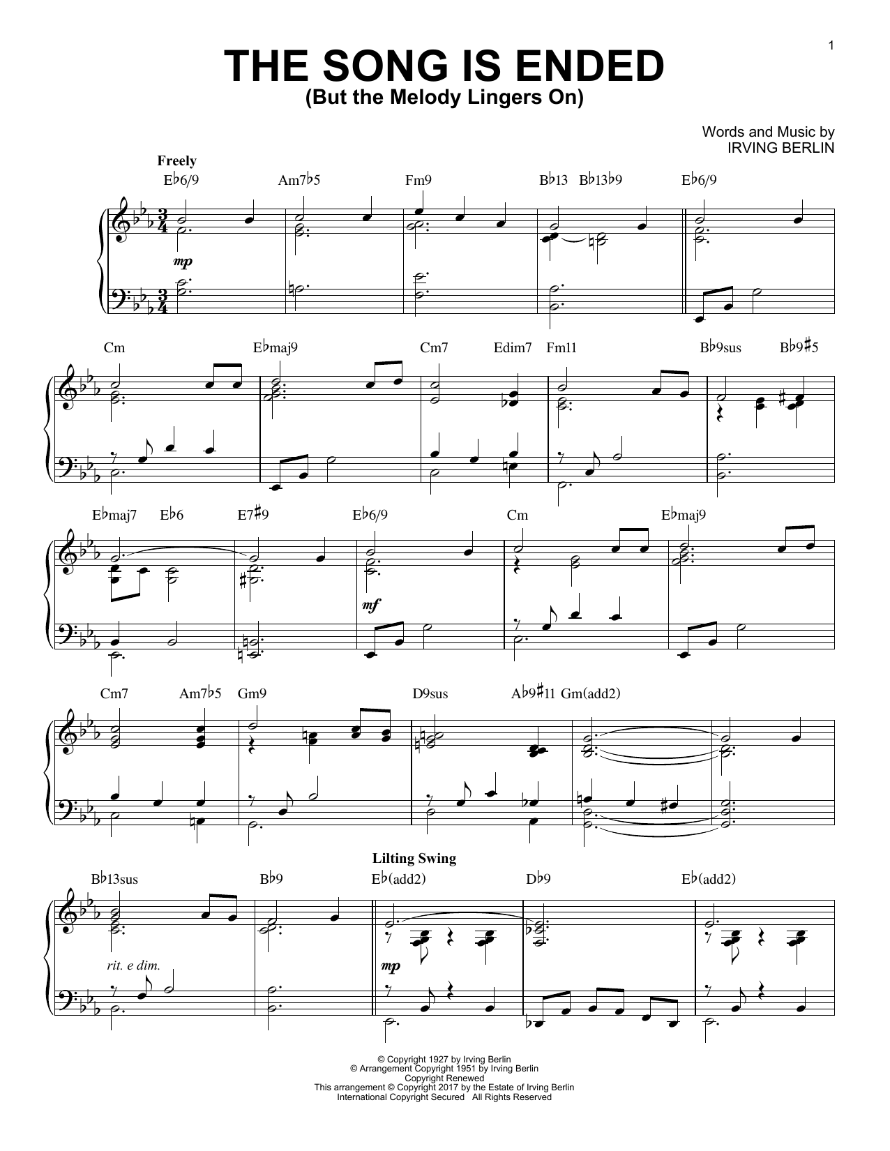 Irving Berlin The Song Is Ended (But The Melody Lingers On) sheet music notes and chords. Download Printable PDF.