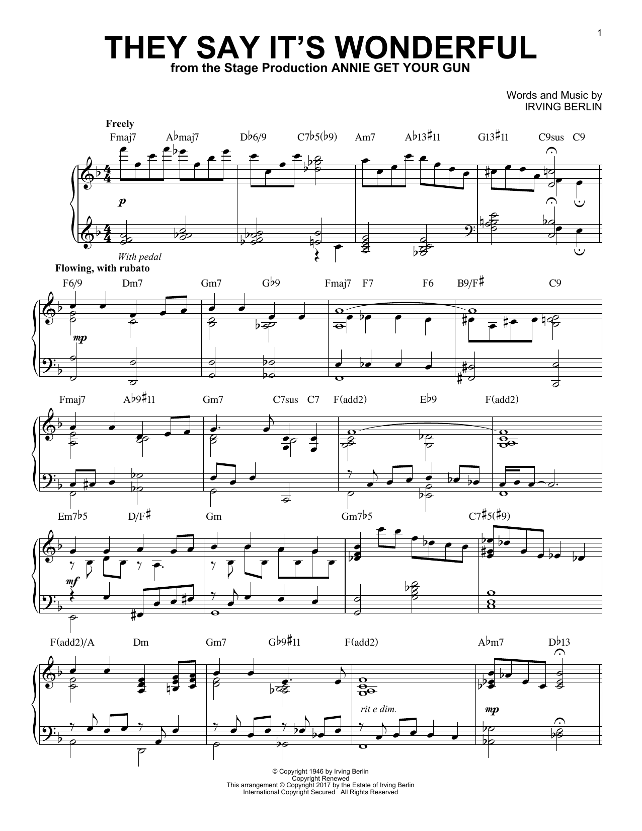Irving Berlin They Say It's Wonderful [Jazz version] sheet music notes and chords. Download Printable PDF.