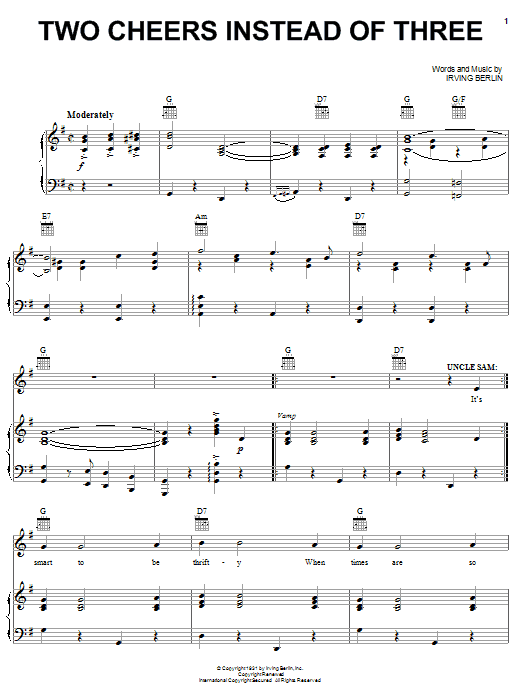 Irving Berlin Two Cheers Instead Of Three sheet music notes and chords. Download Printable PDF.