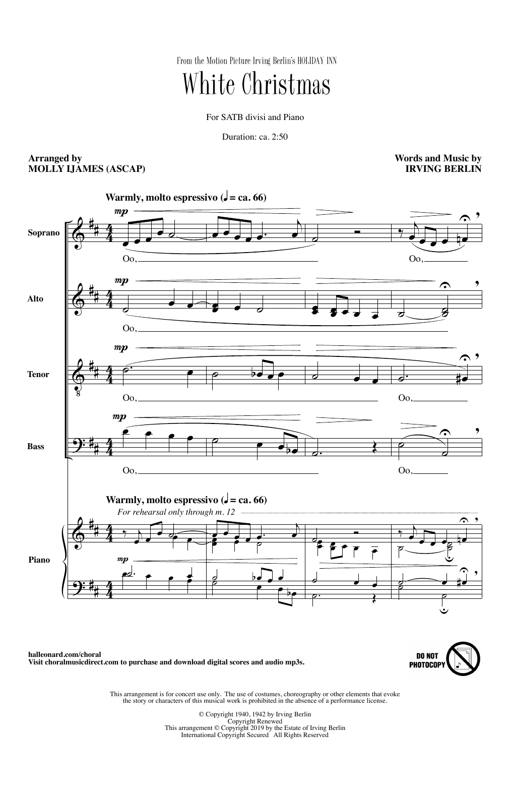 Irving Berlin White Christmas (from Holiday Inn) (arr. Molly Ijames) sheet music notes and chords. Download Printable PDF.