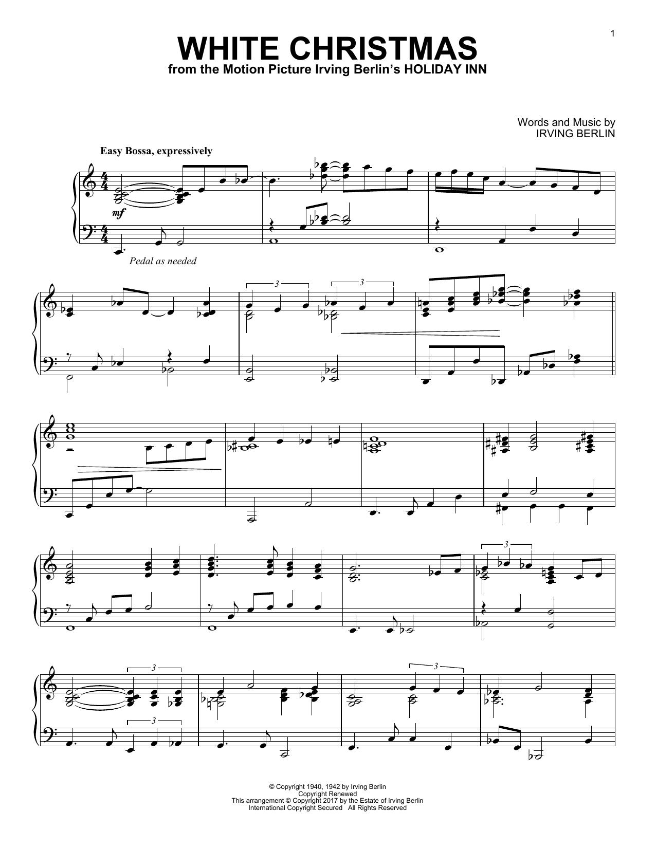 Irving Berlin White Christmas Jazz Version Sheet Music Pdf Notes Chords Christmas Score Piano Solo Download Printable Sku 186993