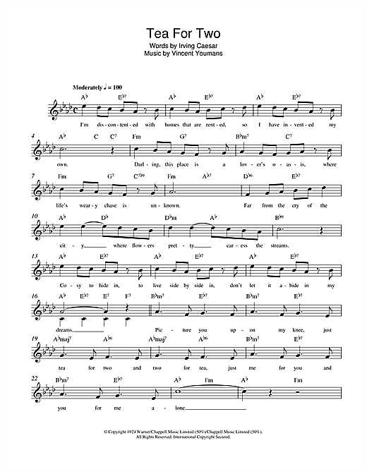 Irving Caesar Tea For Two sheet music notes and chords