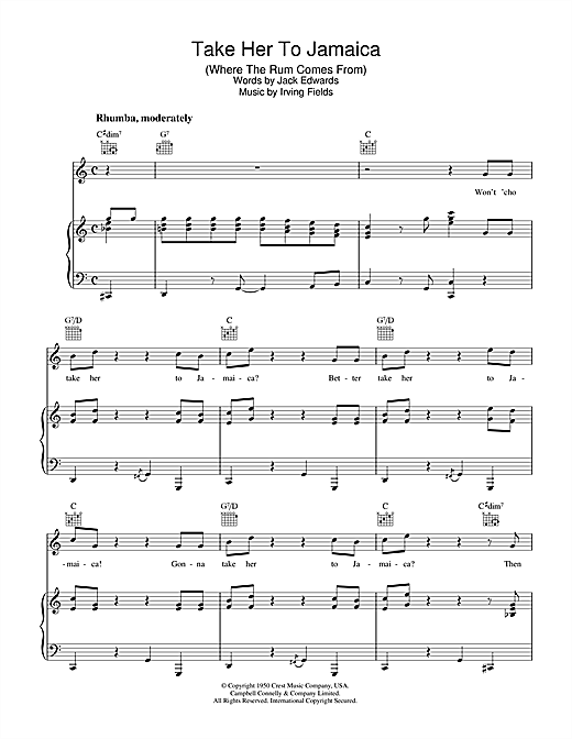 Irving Fields Take Her To Jamaica (Where The Rum Come From) sheet music notes and chords. Download Printable PDF.