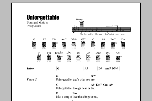 Irving Gordon Unforgettable sheet music notes and chords. Download Printable PDF.