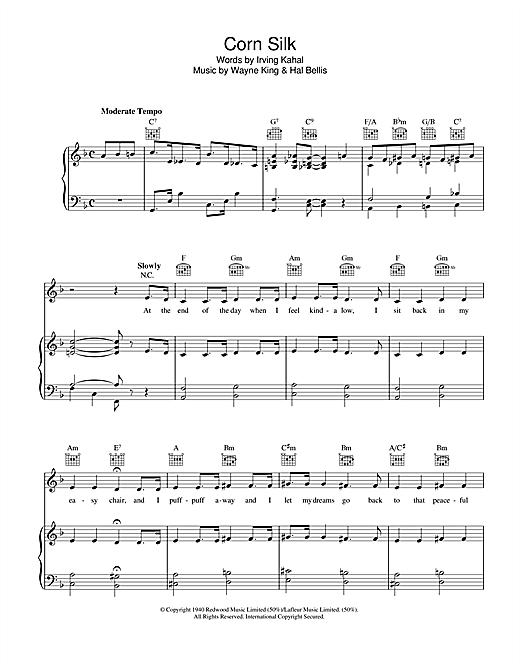 Irving Kahal Corn Silk sheet music notes and chords. Download Printable PDF.