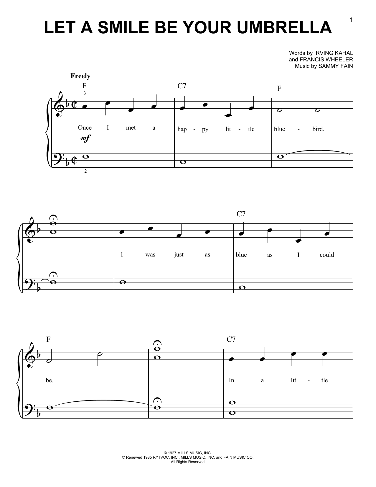Irving Kahal Let A Smile Be Your Umbrella sheet music notes and chords. Download Printable PDF.