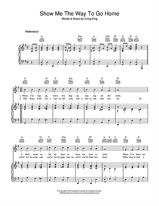 Irving King Show Me The Way To Go Home sheet music notes and chords. Download Printable PDF.