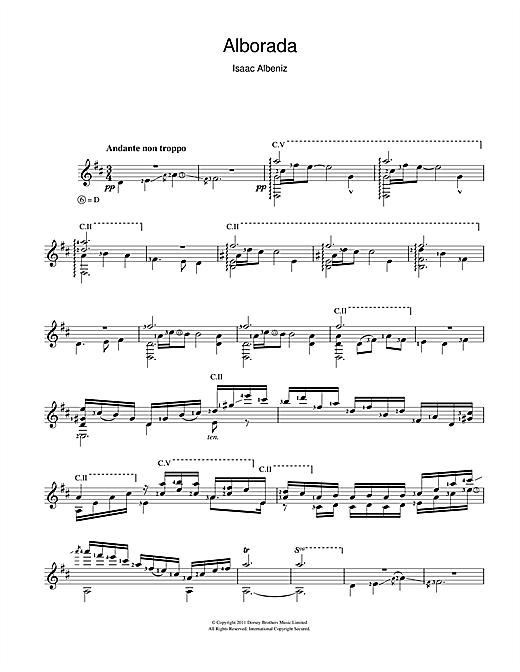 Isaac Albeniz Alborada sheet music notes and chords