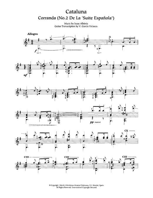 Isaac Albeniz Cataluna sheet music notes and chords