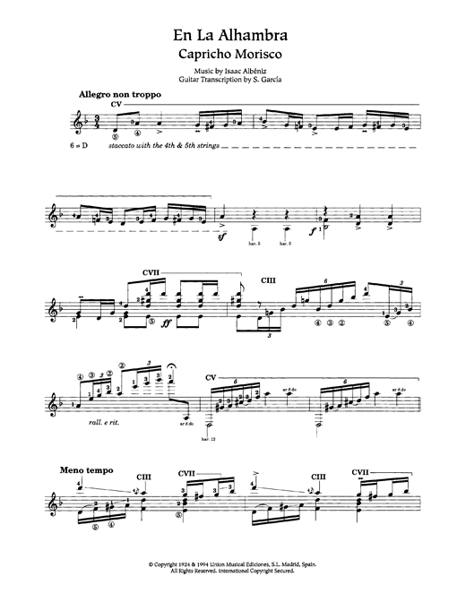 Isaac Albeniz En La Alhambra (Capricho Morisco) sheet music notes and chords