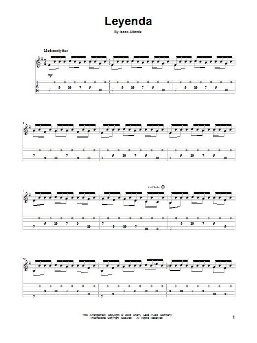 Isaac Albeniz Leyenda (Asturias) sheet music notes and chords