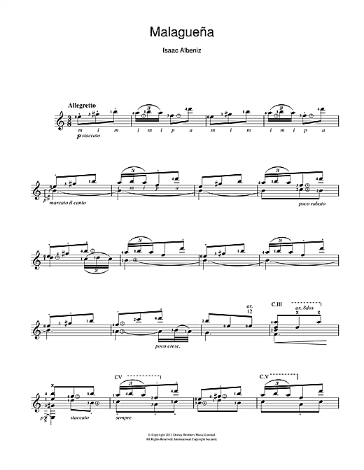 Isaac Albeniz Malaguena sheet music notes and chords