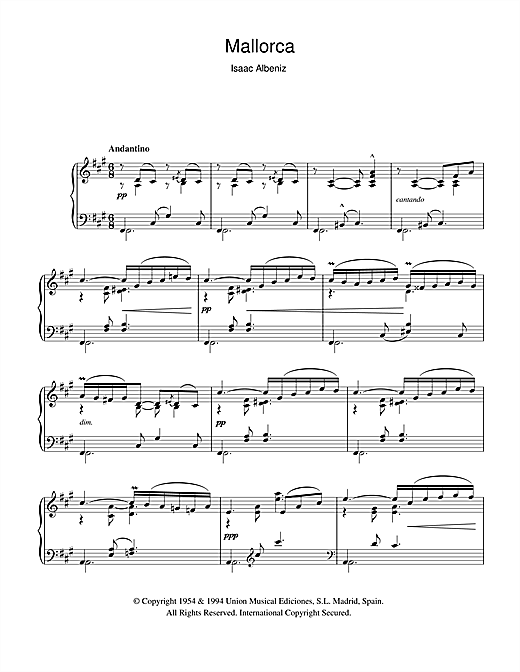 Isaac Albeniz Mallorca sheet music notes and chords. Download Printable PDF.