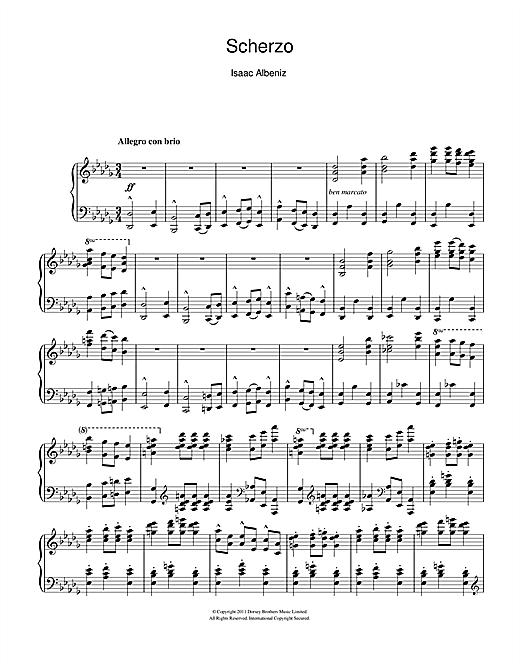 Isaac Albeniz Scherzo sheet music notes and chords