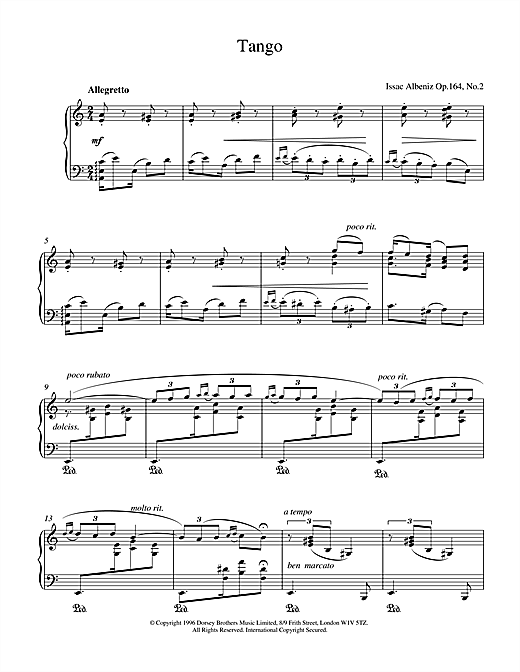 Isaac Albeniz Tango Op.164 No.2 sheet music notes and chords