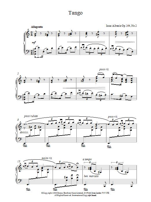 Isaac Albeniz Tango Op.164 No.2 sheet music notes and chords. Download Printable PDF.