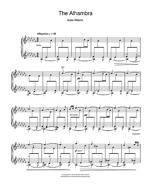 Isaac Albeniz The Alhambra sheet music notes and chords