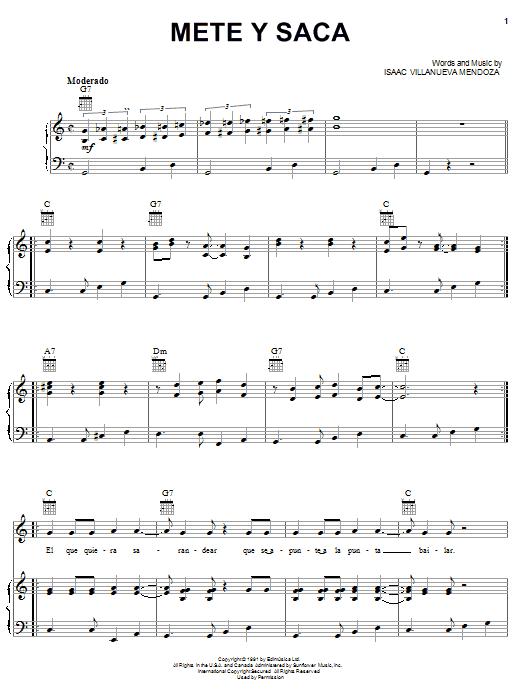 Isaac Villanueva Mendoza Mete Y Saca sheet music notes and chords. Download Printable PDF.